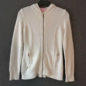 Lilly Pulitzer White Knitted Zipper Down Sweater S